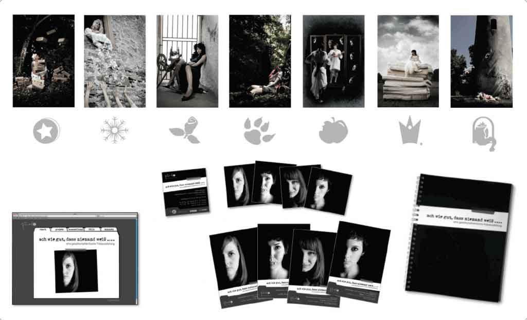 corperate-design_punktprojekt Flyer, Broschur, kreatives Webdesign, Illustration die jeweils seines der Bilder darstellen. Design in schwarz/weiss. Bilder in Farbe