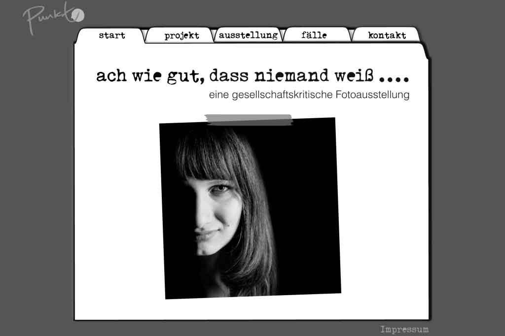 webseite, webdesign, Werbegestalung punkt projekt- Event-Werbung fuer eine Fotoausstellung kunstvolle Webseitengestaltung